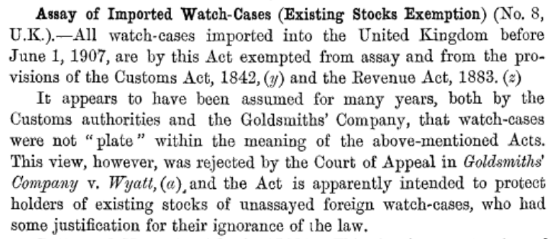 Assay of Imported Watch-Cases (Existing Stocks Exemption)