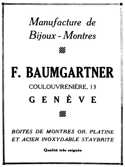 1939 Baumgartner Advert