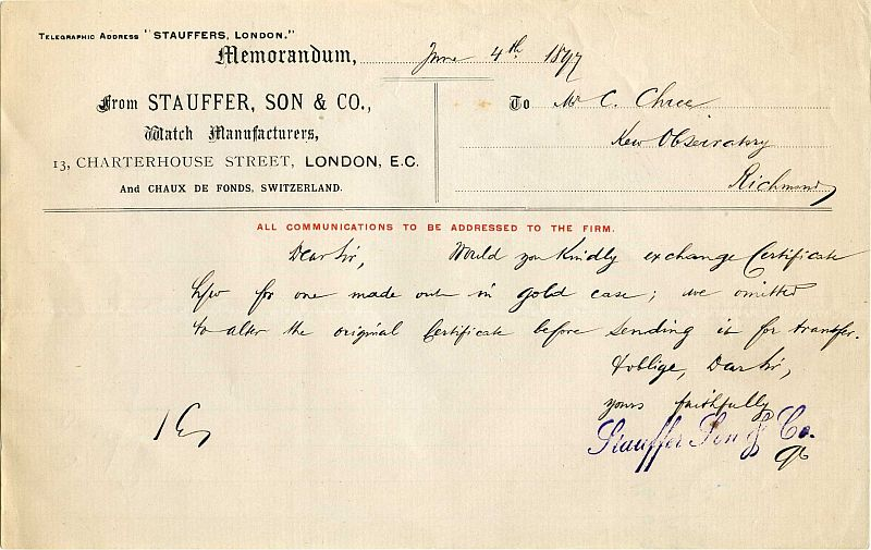 Stauffer letter to Dr. Chree at Kew