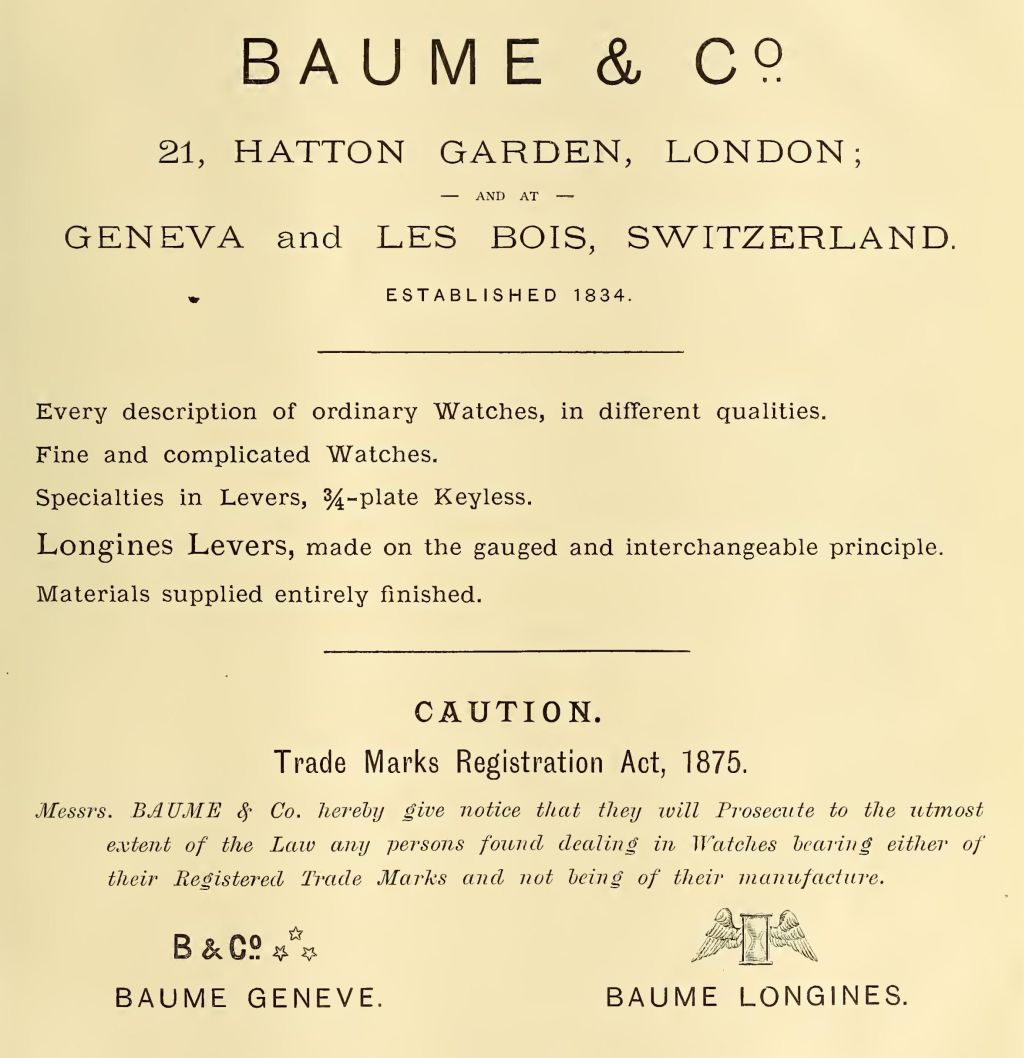 Baume & Co. advert 1886