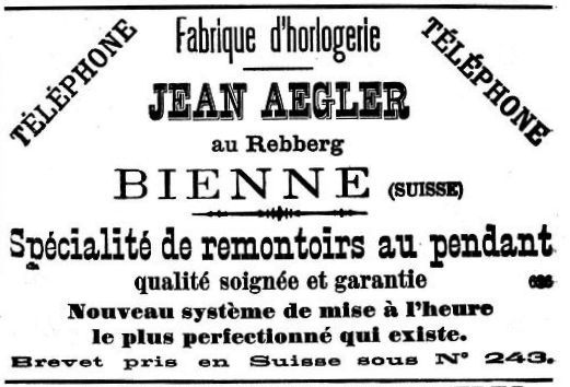 Aegler advert from 1890