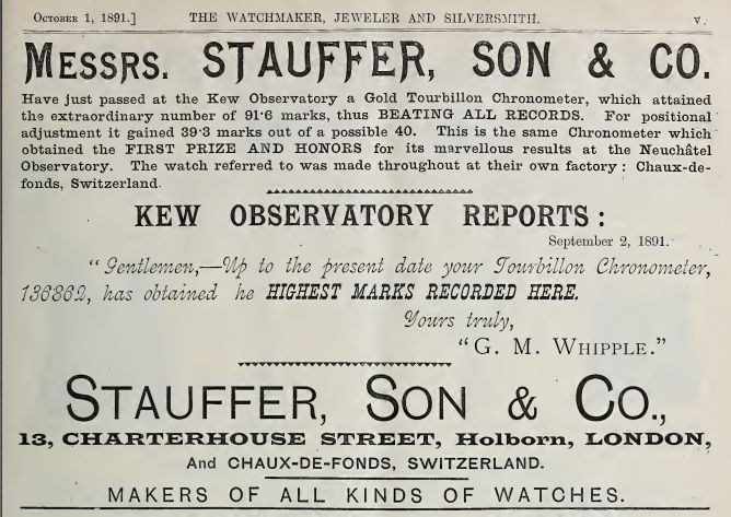 Stauffer advertisement Oct 1891